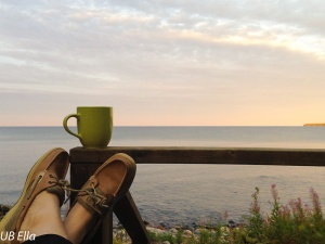 Watching the sun rise over a cup of coffee